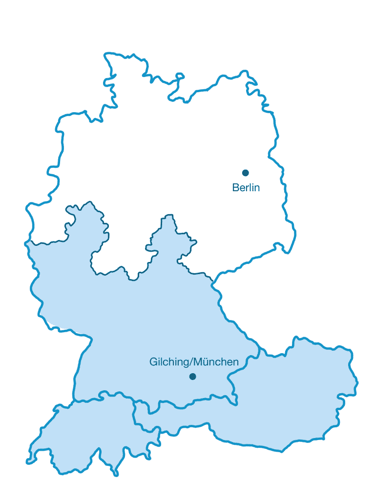 Karte SI-GmbH Vertriebsgebiet Süd