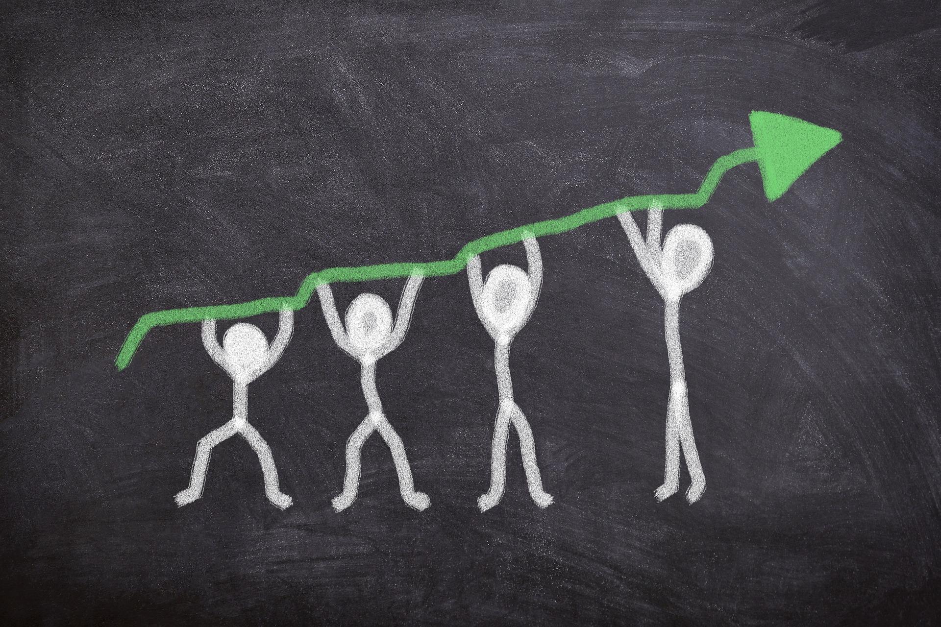 Grafik zur Veranschaulichung, dass man nur gemeinsam wachsen kann